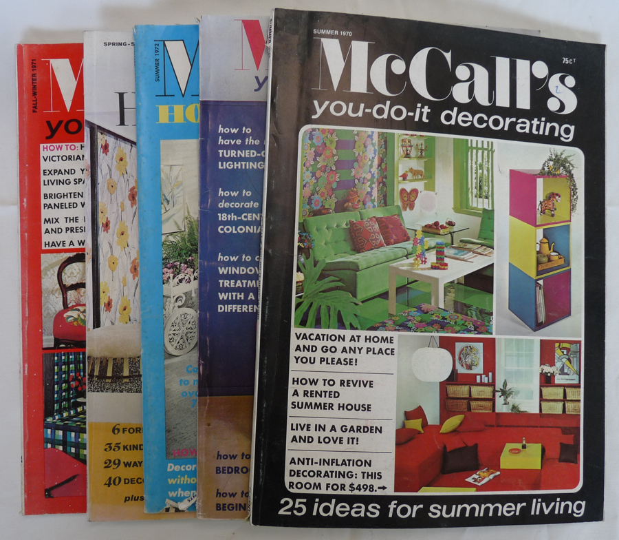 5 McCall's decorating magazines 1970's project directions vintage crafts