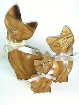 """Vtg Hand-Carved Wood CAT Family Figurines 8 1/2"""" Dad 6"""" Mom 4"""" Baby Phil... - $37.05"""