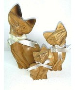 "Vtg Hand-Carved Wood CAT Family Figurines 8 1/2"" Dad 6"" Mom 4"" Baby Phil... - $37.05"