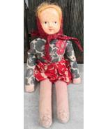 Vintage Cloth Doll w Head Scarf - $15.00
