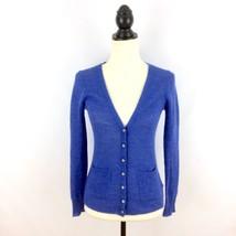 J CREW women's XXS sweater - blue Crystal Button Cardigan alpaca merino ... - $19.99