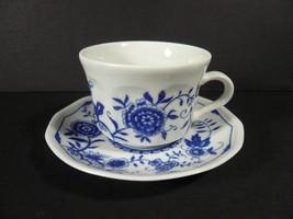 Vintage Kahla Demitasse Espresso Cup & Saucer Blue Onion Danube - Made i... - $15.00