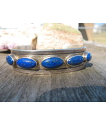 Navajo Lapis Bracelet Sterling Silver Indian Cu... - $225.00