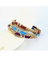 Stacking Bangle Bracelets, Enamel, Set of Three, Gold Tone Metal, 1980s,... - $28.00