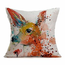 Asamour Watercolor Animal Style Throw Pillow Covers Deer Pattern Cotton ... - $10.27