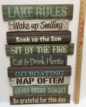 """Lake Rules Sign Wall Hanging Picture 24"""" Wood Smile Sun Eat Drink Fire N... - $32.66"""