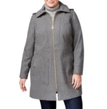 Michael Kors Women's Gray Plus Size Hooded Wool-Blend Walker Coat, Size 3X - $158.40