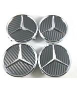 4X Mercedes Benz Center Caps Carbon Fiber Black 3 Inch/75mm Fit Model C ... - $18.80