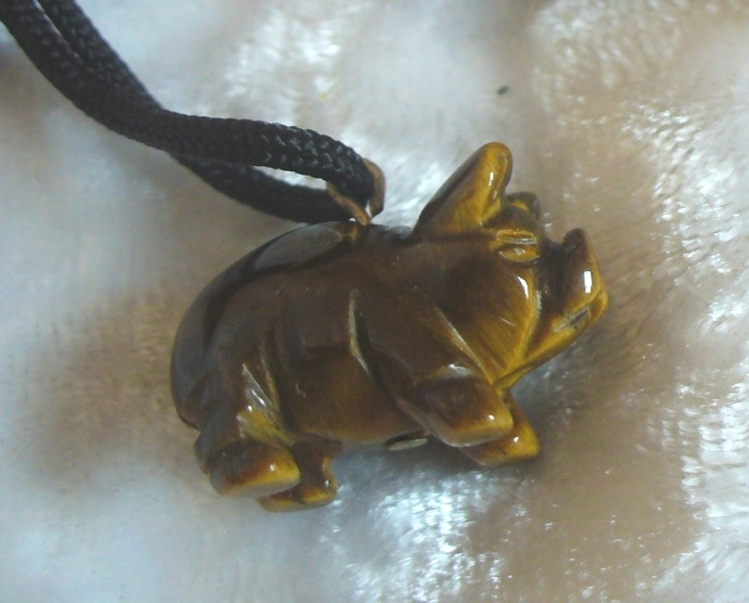 Tiger's Eye Pig Gemstone Fetish Pendant