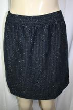Ann Taylor LOFT 8P Petite Black Navy Metallic Silver Wool Blend Tweed Skirt - $28.71