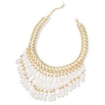 """Shop LC White Glass Resin Goldtone BIB Collar Necklace for Women 20"""" - $15.65"""