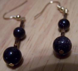 Blue Goldstone & Copper Handmade Necklace Earring Set