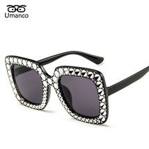 Umanco Vintage Rhinestone Sunglasses Women Big Square Eyewear Female Cry... - $9.52