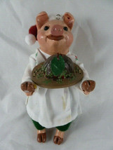 "Pig Christmas Ornament with plum pudding 6"" tall santa Hat - $14.84"