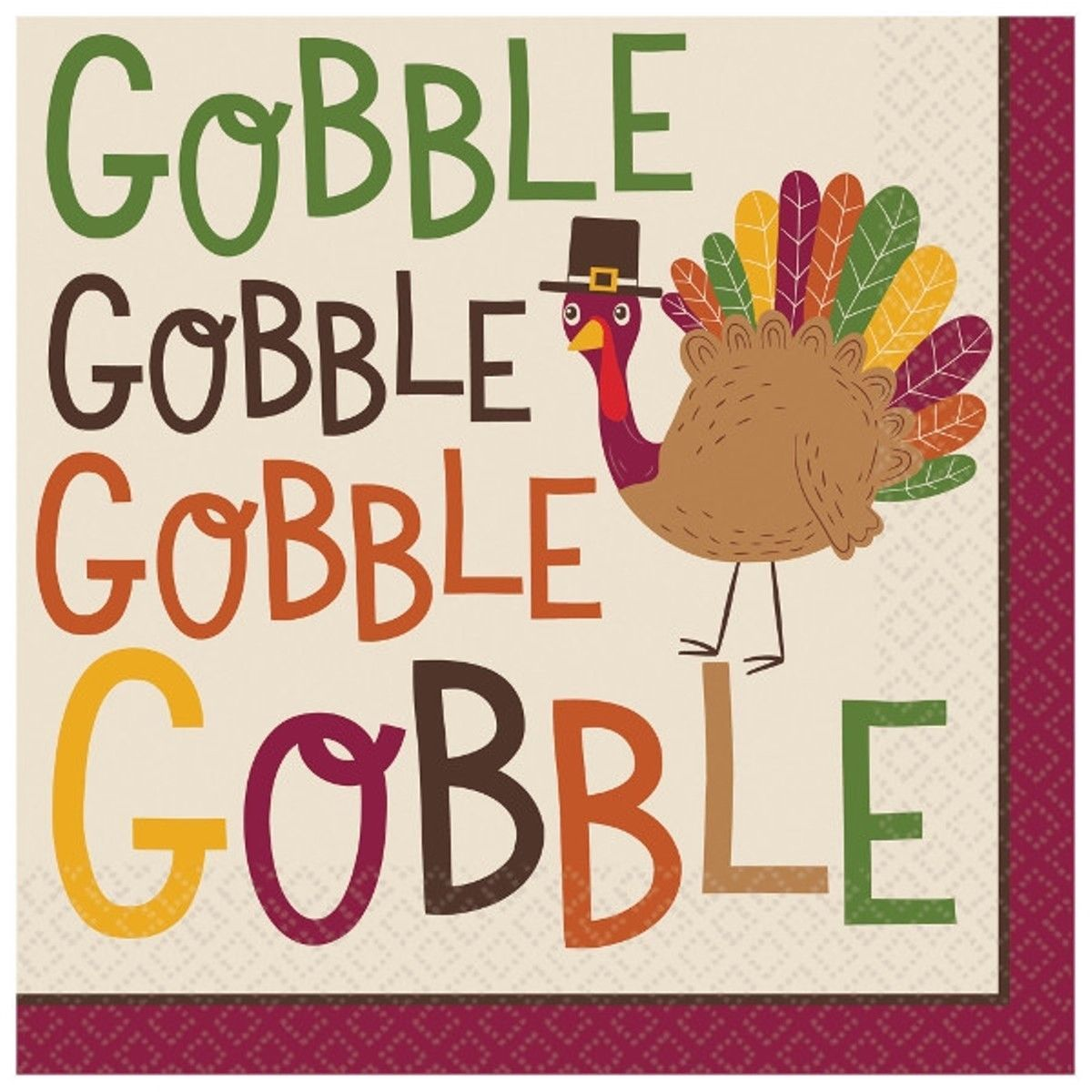 Gobble Gobble 36 ct Luncheon Napkins Turkey Thanksgiving