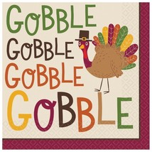Gobble Gobble 36 ct Luncheon Napkins Turkey Thanksgiving - $9.79