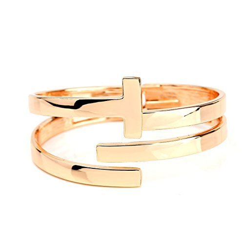 UE- Contemporary Designer Rose Gold Tone Hinged T-Bar Cuff Bangle Bracelet