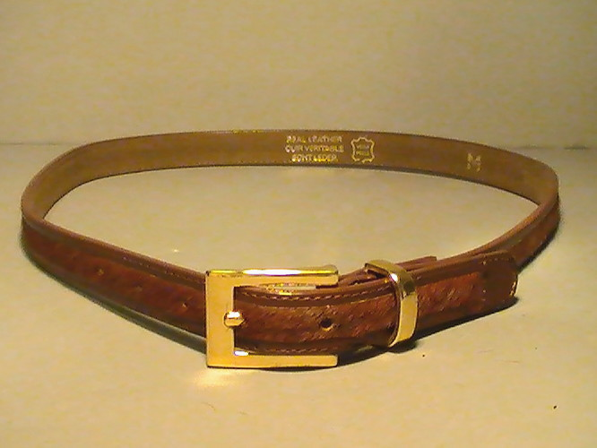 leather belt brown pony hair with gold buckle