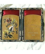 Wallet 1894 Calling Card Case Brown Leather Gold Inlay Embroidered Flora... - $272.25