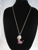 NEW Betsey Johnson Pink Rhinestone Mouse  Pendant on lo... - $24.50