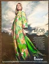 1968 Penney's REgulated Plus Fashion Fabrics PRINT AD New Big Flower Glo... - $11.89