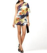 Jessica Simpson Dress Sz XS Black Multi One Shoulder Evening Cocktail Mi... - $68.17