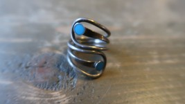 Sterling Silver Blue Enamel Inlay UNIQUE DESIGN Ring Size 7 - $25.24