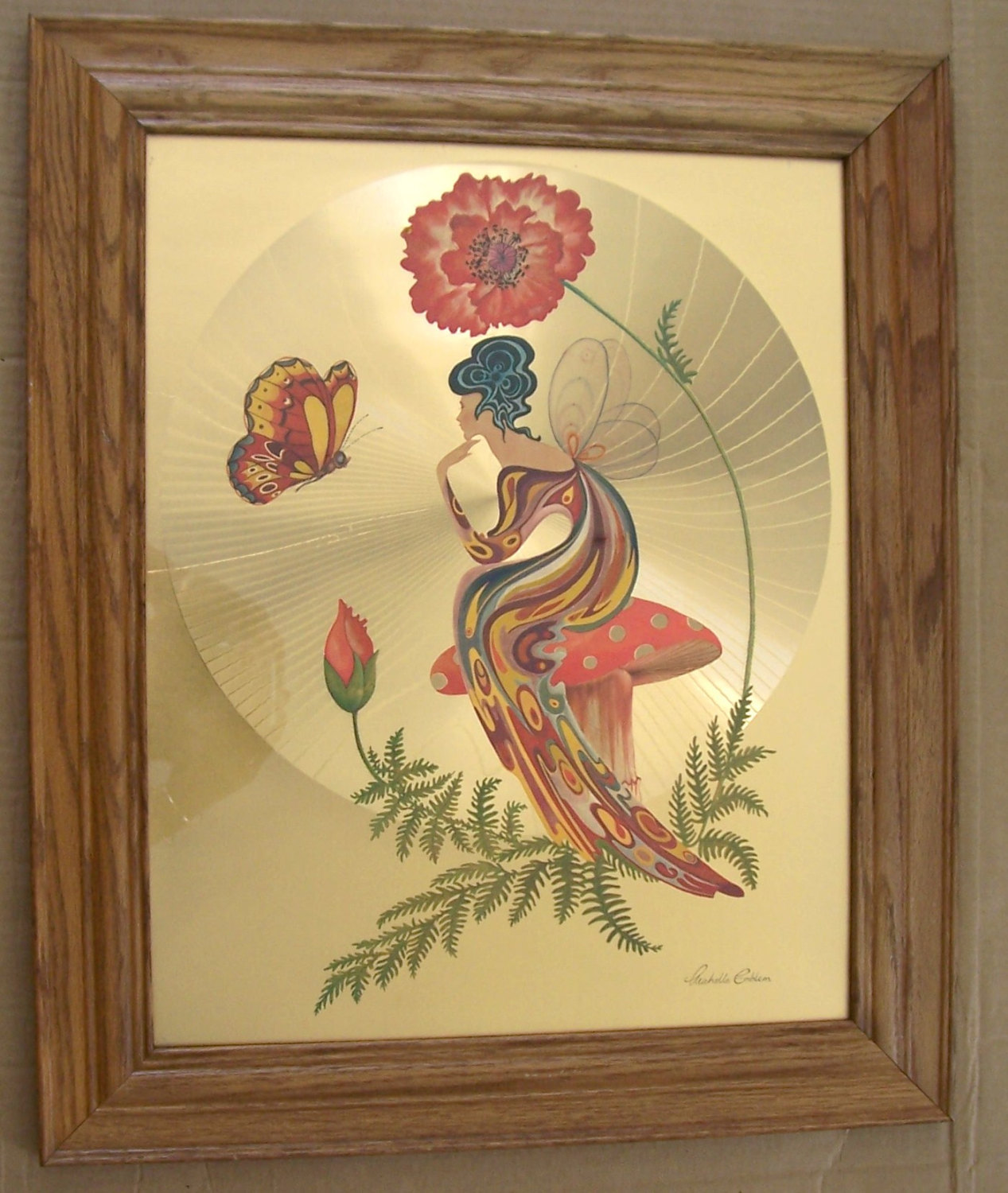 "Primary image for Vintage 1970's Michelle Emblem Original Foil & Handpainted Art ""Poppy Nymph"" Sig"