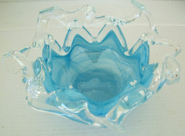 MURANO GLASSWARE Handblown Abstract Art Light Blue Glass Table Display - $179.99