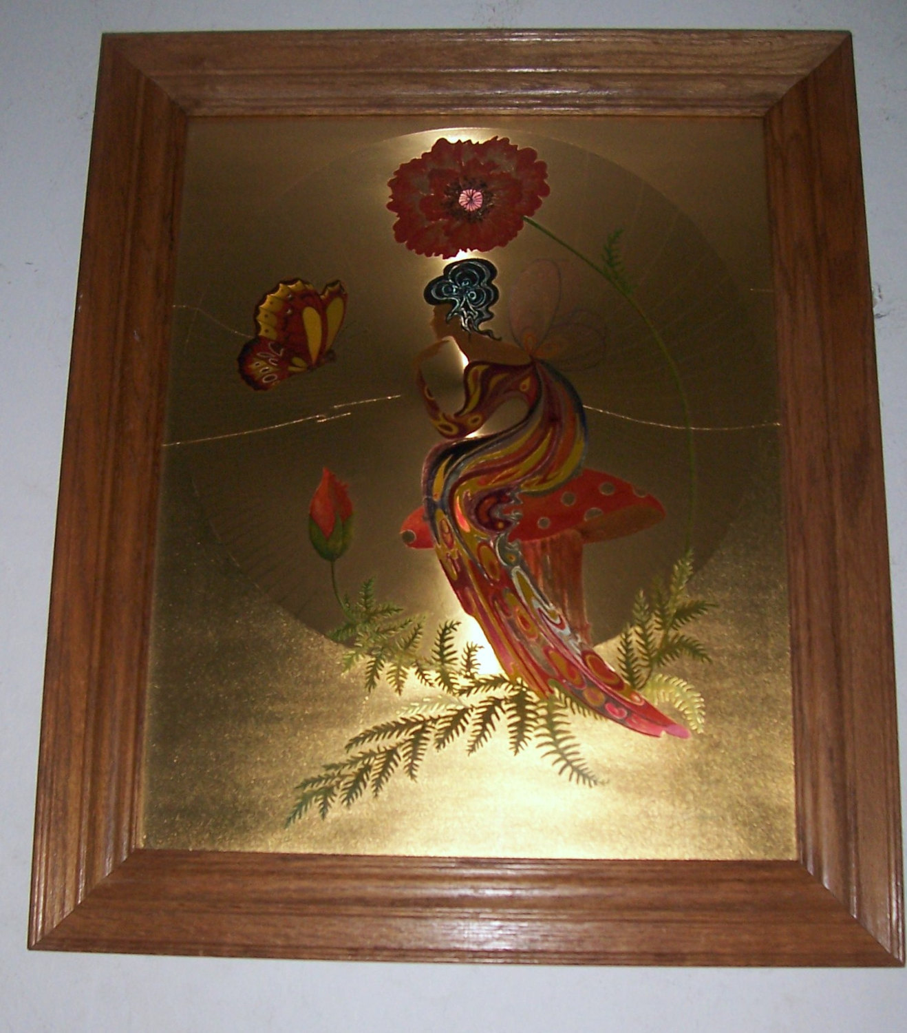 "Vintage 1970's Michelle Emblem Original Foil & Handpainted Art ""Poppy Nymph"" Sig"