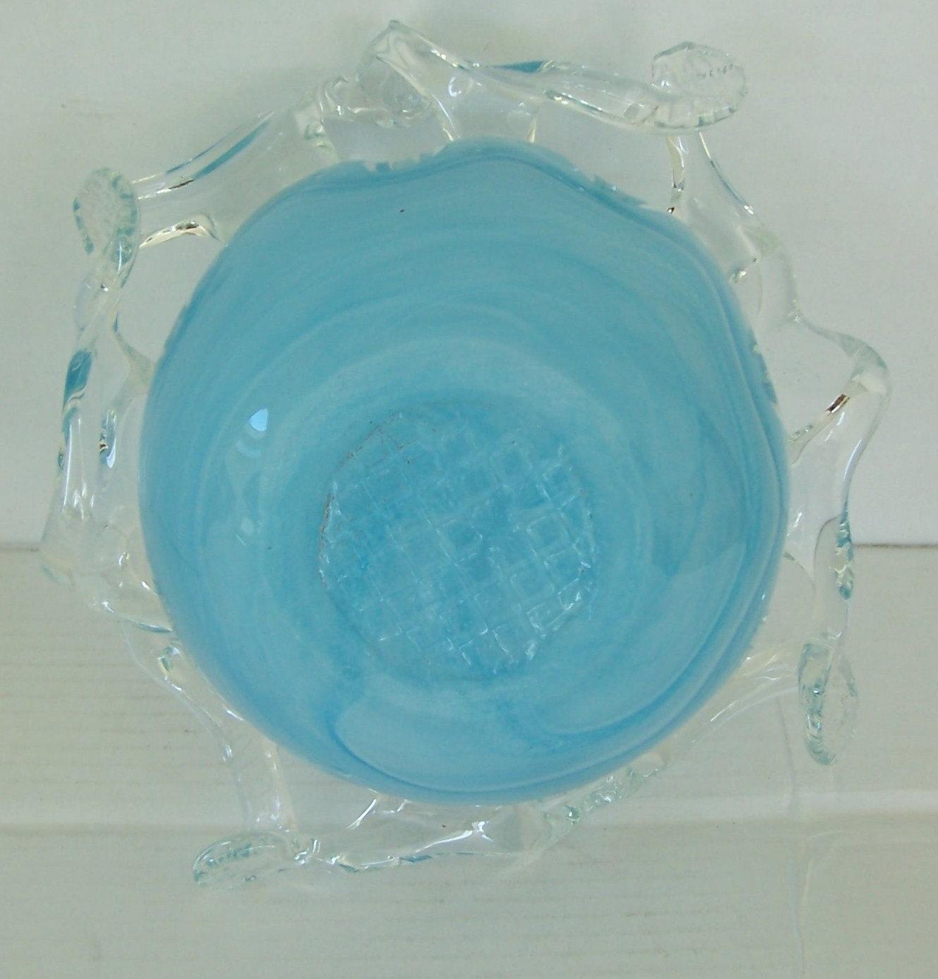 MURANO GLASSWARE Handblown Abstract Art Light Blue Glass Table Display