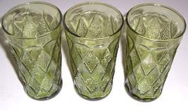 Vintage (3) Large Anchor Hocking Pressed Designed Vintage Green Glasses - $54.99