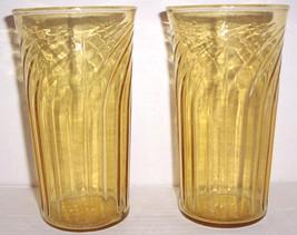 Vintage (2) Large Anchor Hocking Pressed Designed Topaz Color Glasses - $42.00