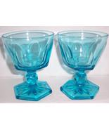 Fostoria (2) Crystal Virgina Blue Water Goblet Ice Tea Goblet Glasses - $45.00