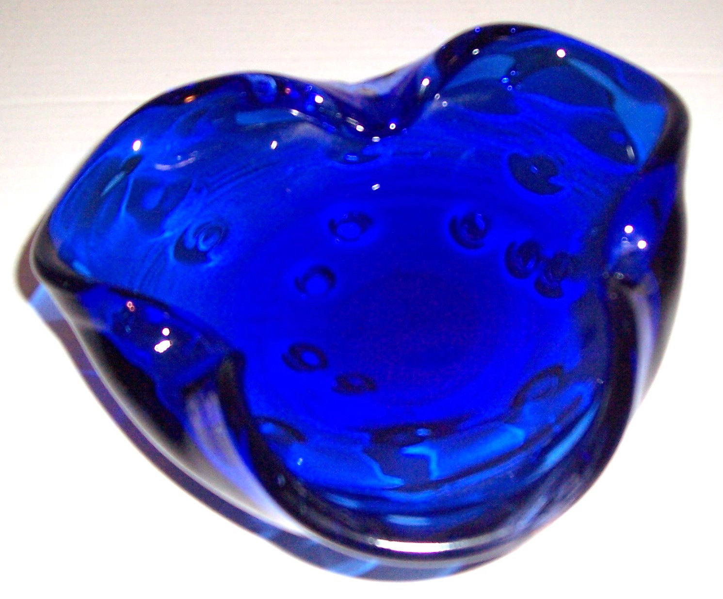 Vintage MURANO Glass Art Cobalt Blue Designed Table Display With Air Bubbles