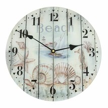 "Beach Motif Glass Wall Clock 11.75"" Wide - $20.89"