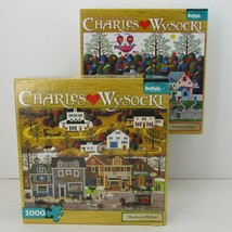 2 Charles Wysocki Puzzles 1000 pieces Confections Street & Hawkriver Hollow - $19.78