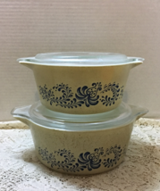 Two Vintage PYREX Homestead Pattern Casserole Dishes - 474-B & 475-B w/Lids - $15.00