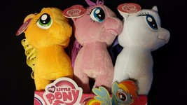 "My Little Pony 14"" Rarity Applejack Pinkie Pie Set Of 3 Stuffed Toys In Display - $65.00"