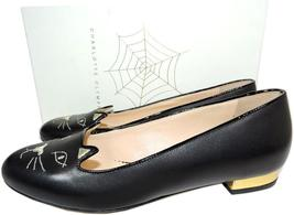 Charlotte Olympia Blck Leather Kitty Smoking Slipper Flats Shoe Ballets 40-9 Cat image 4