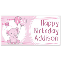 Pink Elephant with Balloons Birthday Banner Personalized Party Backdrop - $23.64