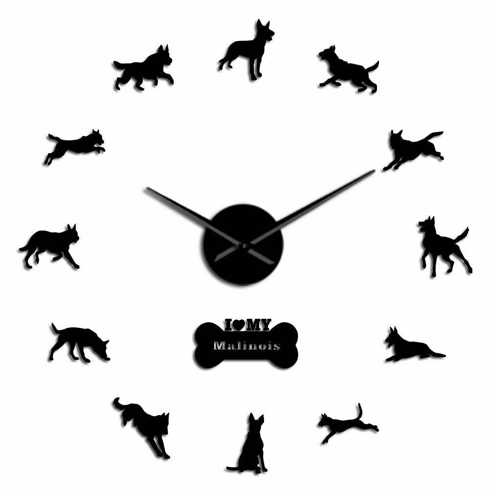 Primary image for Malinois Police K9 Dog Large DIY Wall Clock German Shepherd Dog's Lover Gift