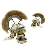 Roman Centurion Steel Helmet White Plume and Liner Brass & Silver Polish... - $159.00