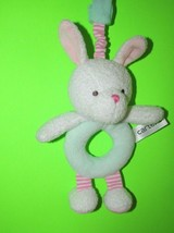 Carters plush BUNNY RABBIT rattle green ring pink striped legs hanging s... - $9.89