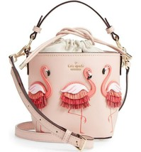 Kate Spade BY THE POOL Flamingo Pippa Leather Warm Vellum BUCKET BAG - NWT - $197.99