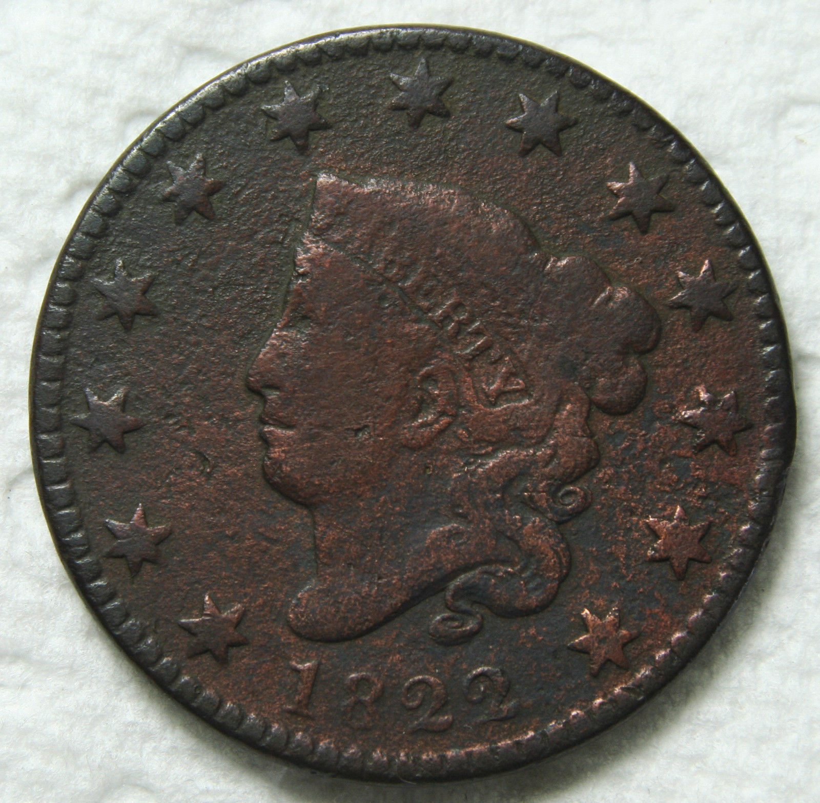 1822 Large Cent Liberty Head Coin Lot # MZ 3393