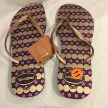 New Havaianas Slim Women's 11/12 Flip Flops Rubber Sandals Shoes Gold Pu... - $18.25