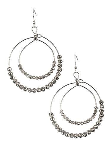 Metallic Bead Double Wire Dangle Earrings (Silver)