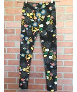 Lularoe Leggings OS One Size Black With Floral Print (3O25) - $17.84