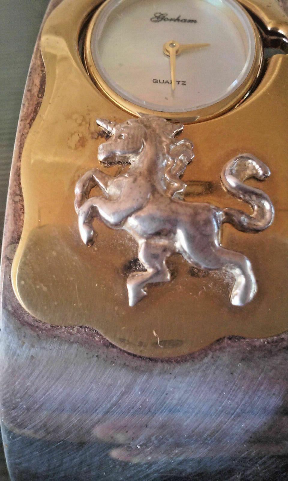 Vintage Gorham Unicorn Two Tone Hinged Bangle Bracelet Wrist Watch in Box RARE F image 5